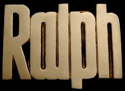 MH02167 **NOS** VINTAGE 19780s/80s CUT-OUT NAME ***RALPH*** SOLID BRASS BUCKLE