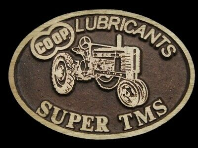 MF09120 *NOS* VINTAGE 1970s **CO-OP** SUPER TMS LUBRICANTS SOLID BRASS BUCKLE