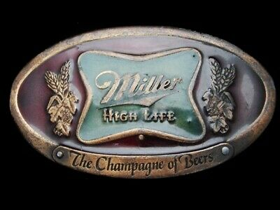 Mh21166 Vintage 1975 **Miller High Life The Champagne Of Beers** Belt Buckle