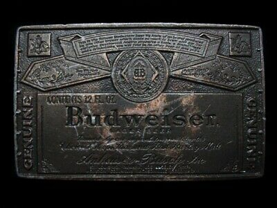 MH17130 VINTAGE 1970s **GENUINE BUDWEISER LAGER BEER** BELT BUCKLE