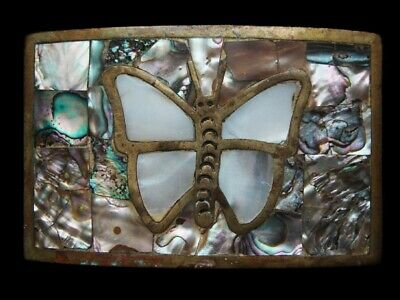 MH13137 *NOS* VINTAGE 1970s **BUTTERFLY** ABALONE & SOLID BRASS ART BELT BUCKLE