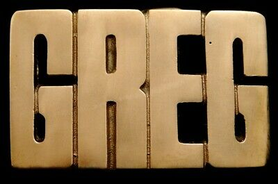 MH14176 *NOS* VINTAGE 1970s80s CUT-OUT NAME ***GREG*** SOLID BRASS BUCKLE