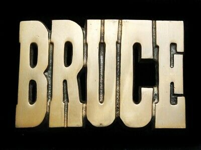 MI15175 *NOS* VINTAGE 1970s NAME **BRUCE** SOLID BRASS BELT BUCKLE