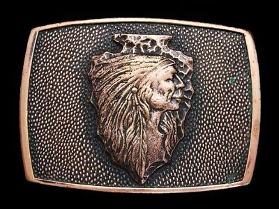 MA05146 REALLY COOL VINTAGE 1970s **INDIAN CHIEF ON ARROWHEAD** BELT BUCKLE