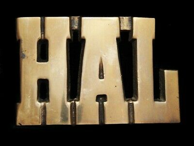 LL21167 *NOS* VINTAGE 1970s CUT-OUT NAME *HAL* SOLID BRASS BELT BUCKLE