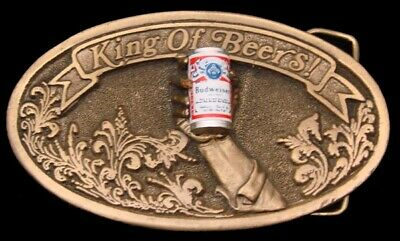 MH28164 *NOS* AMAZING 1977 ***BUDWEISER BEER*** w/BEER CAN & 3-D HAND BUCKLE