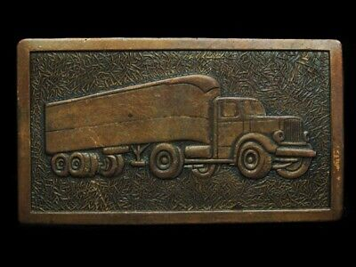 MA23141 VINTAGE 1940s HOOK-FAST **18-WHEELER SEMI-TRUCK** SOLID BRASS BUCKLE
