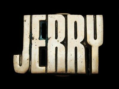 Mh09171 Vintage 1978 Cut-Out Name ***Jerry*** Solid Brass Belt Buckle