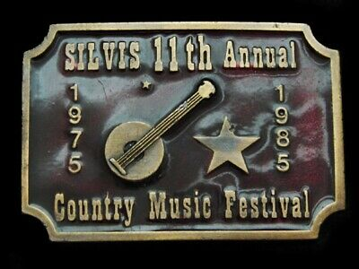Mi09137 Vintage 1985 *Silvis 11Th Annual Country Music Festival* Belt Buckle