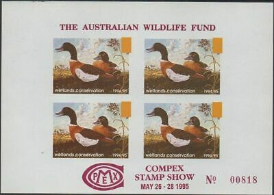 Australia Cinderella Ducks 1995 Compex Stamp Show proof block MNH