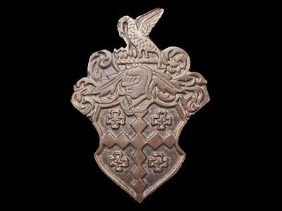 MJ01149 VINTAGE 1970s **KNIGHT'S HEAD CREST** SOLID BRASS BELT BUCKLE