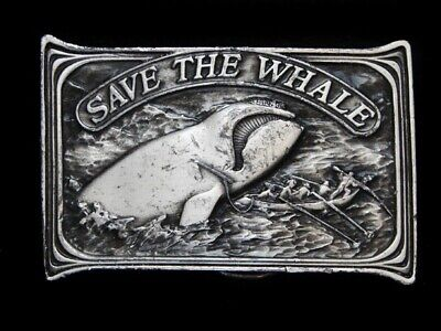 Nc13160 Vintage 1976 Bergamot **Save The Whale** Conservation Belt Buckle