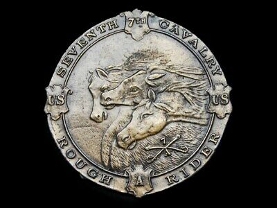 NA07145 VINTAGE 1970s **SEVENTH CAVALRY ROUGH RIDERS** MILITARY BELT BUCKLE