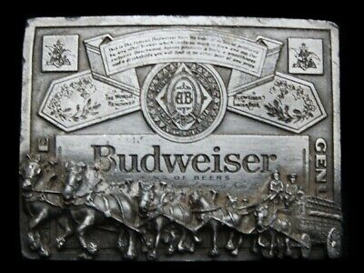 NC25142 VINTAGE 1970s **BUDWEISER CLYDESDALES KING OF BEERS** BELT BUCKLE