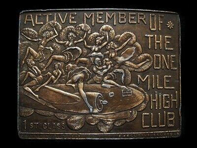 NC13166 VINTAGE 1970s **ACTIVE MEMBER OF THE MILE HIGH CLUB** SEXY BELT BUCKLE