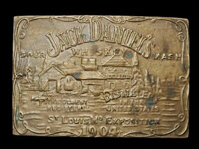 MJ11147 VINTAGE 1970s **JACK DANIEL'S WHISKEY** BOOZE SOLID BRASS BELT BUCKLE
