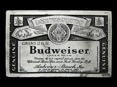 MJ17146 VINTAGE 1970s **GENUINE BUDWEISER LAGER BEER** BELT BUCKLE