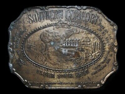 MJ11128 VINTAGE 1970s **SOUTHERN COMFORT UNDER YOUR BELT** BOOZE BELT BUCKLE