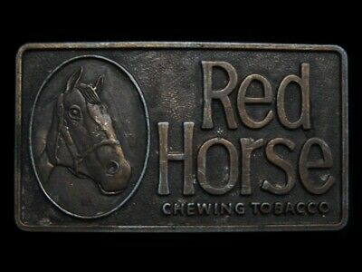 MJ25129 VINTAGE 1970s **RED HORSE CHEWING TOBACCO** BELT BUCKLE