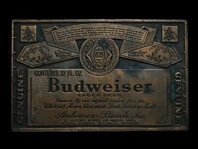 MJ29121 VINTAGE 1970s BERGAMOT **GENUINE BUDWEISER LAGER BEER** BELT BUCKLE