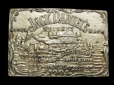 NB15159 VINTAGE 1970s **JACK DANIEL'S WHISKEY** SOLID BRASS BOOZE BELT BUCKLE