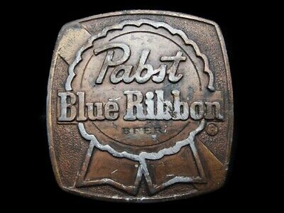 Na17164 Vintage 1976 Indiana Metal Craft **Pabst Blue Ribbon** Beer Belt Buckle