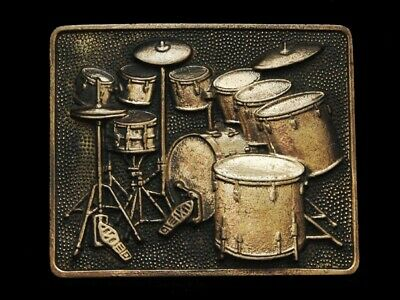 Nb19166 Vintage 1980 **Drum Set** Solid Brass Music Belt Buckle