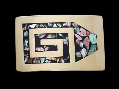 NC11157 COOL VINTAGE 1970s **ABSTRACT SPIRAL** ABALONE CHIP INLAY BELT BUCKLE