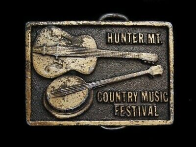 NB27147 VINTAGE 1970s **COUNTRY MUSIC FESTIVAL HUNTER MT** MUSIC BELT BUCKLE