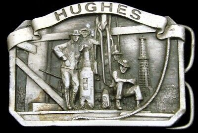 NA06102 VINTAGE 1970s ***HUGHES TOOL*** ROCK BITS PEWTER OILFIELD BUCKLE
