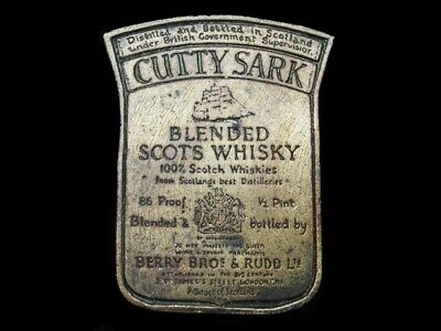 NA15139 VINTAGE 1970s **CUTTY SARK BLENDED SCOTS WHISKEY** BOOZE BELT BUCKLE