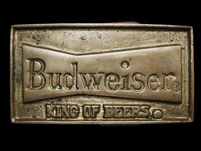 NB15156 VINTAGE 1970s **BUDWEISER KING OF BEERS** SOLID BRASS BELT BUCKLE