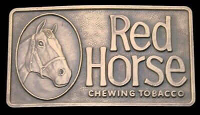 NB24115 *NOS* VINTAGE 1970s ***RED HORSE CHEWING TOBACCO*** BELT BUCKLE
