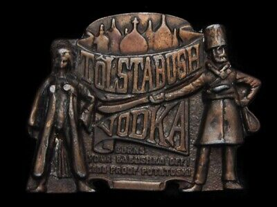 NB27145 VINTAGE 1970s **TOLSTABUSH VODKA** BOOZE BELT BUCKLE