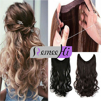"""Invisible Remy Hair Extension Wire Headband Crown Extensions Thick 16""""-24'' 100G"""