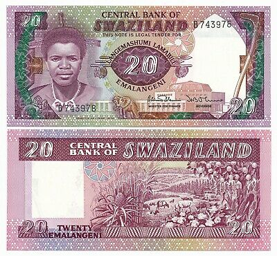 Africa Swaziland 20 Emalangeni ND 1986 P. 12 UNC Note