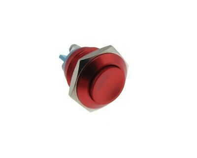 M16 Metal PushButton Switch Panel Mount RB - Momentary type - Red Chrome