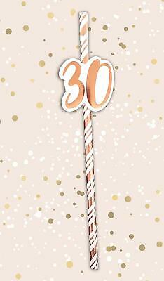 6 x Cream & Rose Gold Happy Birthday Age 30th Metallic Card  Straws STRAW - 30