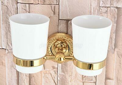 Gold Color Brass Double Tumbler Cup Holder Toothbrush Holder Bathroom Accessory