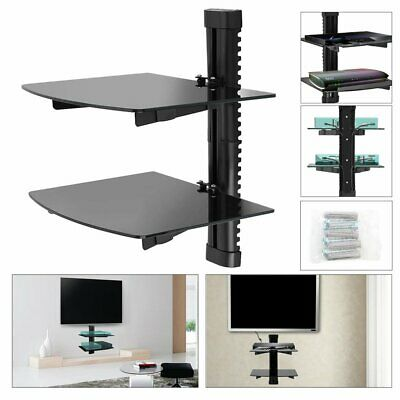 2xTV Wall Bracket Mount Tilt Slim Glass Bracket For Xbox PS4 Sky TV DVD Shelves