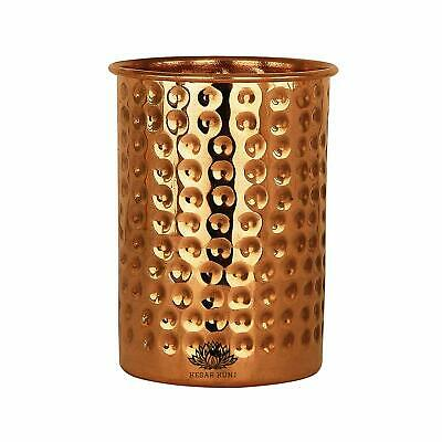 KESAR KUNJ Pure Handmade Copper Water Glass , Ayurveda Benefits Tumbler, (250ml)
