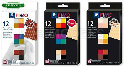 Genuine FIMO 12 x 25g Blocks - Choice Of Professional, Doll Art Or Leather Pack