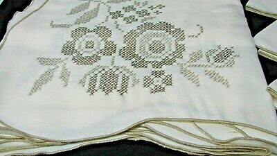New/Old Stock Vintage Embroidered Banquet Size Tablecloth & Napkins