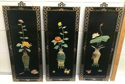 Oriental Chinese Black Lacquer Hanging Wall Plaque Panels Carved Asian Flowers