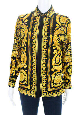 40be4d1cb7 VERSACE WOMENS FW91 Print Silk Blouse Top Yellow Black Size Small