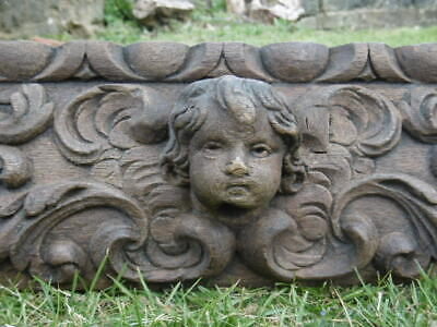 SUPERB 18thc OAK PANEL WITH CHERUB CARVED CENTRALLY & SQUIRREL TO EACH END