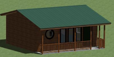 Small Cabin Model 480 With Front Porch And Energy Saving Checklist