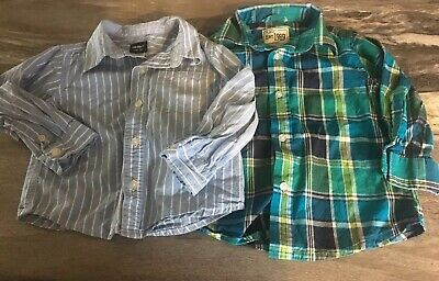 Lot 2 Boys Long Sleeve Button Up Dress Shirts 18 M Carters Childrens Place EXC