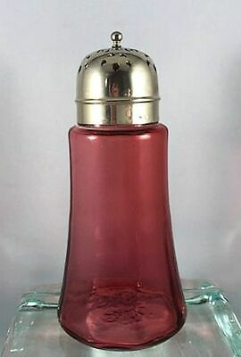 Antique Ruby Cranberry Sugar Caster Optic Ribbed Shaker Muffineer Silver Plated