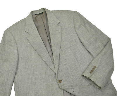 Brooks Brothers Italy Silk Linen Wool Jacket 43R Large Grey Blazer Herringbone